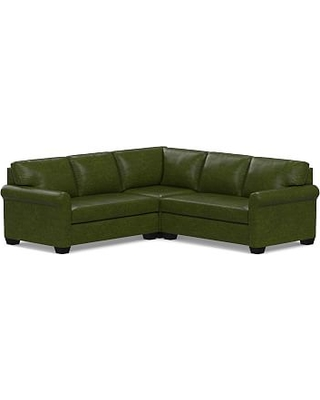 York Roll Arm Leather 3-Piece L-Shaped Corner Sectional with Bench Cushion, Down Blend Wrapped Cushions, Legacy Forest Green