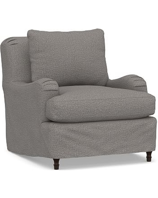 Carlisle Slipcovered Armchair, Down Blend Wrapped Cushions, Performance Chateau Basketweave Blue