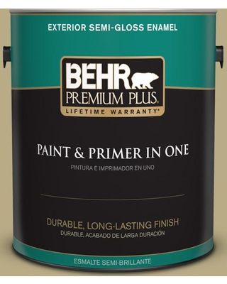 BEHR Premium Plus 1 gal. #PPU8-08A Makrut Lime Semi-Gloss Enamel Exterior Paint and Primer in One