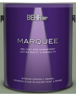 BEHR MARQUEE 1 gal. #PPU11-17 Hillside Green Eggshell Enamel Interior Paint and Primer in One