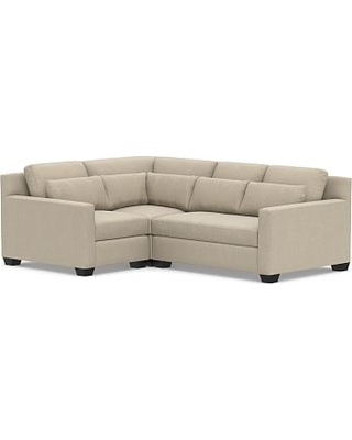 York Square Arm Deep Seat Upholstered Right Arm 3-Piece Corner Sectional, Down Blend Wrapped Cushions, Sunbrella(R) Performance Chenille Cloud