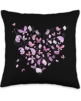 Butterfly Lover Cool Nature Butterflies Gifts Heart Design Nature Butterflies Insect Lover Gifts Throw Pillow, 16x16, Multicolor