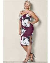 """Plus Size High Slit Bodycon Dress - Multi/red"""