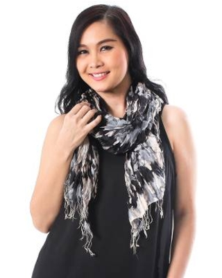 Handwoven Black and Grey Tie-Dye Silk Shawl from Thailand