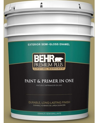 BEHR Premium Plus 5 gal. #PPU8-05 Eco Green Semi-Gloss Enamel Exterior Paint and Primer in One