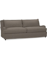 """Carlisle Slipcovered Grand Sofa 90.5"""" with Bench Cushion, Down Blend Wrapped Cushions, Performance Heathered Tweed Graphite"""
