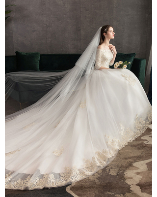Milanoo Princess Wedding Dresses Ivory Lace Applique Off The Shoulder Half Sleeve Bridal Gown With Train