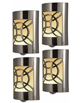 GE CoverLite LED Night Light, 4 Pack, Plug-in, Dusk to Dawn Sensor, Home Decor, UL-Listed, Ideal for Kitchen, Bathroom, Bedroom, Office, Nursery, Hallway, 46459, Brushed Nickel | Geometric, 4 Count