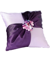 Radiant Flower Ring Bearer Pillow, Purple