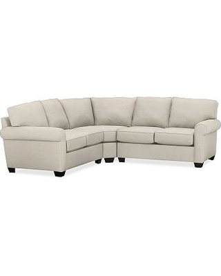 Buchanan Roll Arm Upholstered Curved 3-Piece L-Shaped Sectional, Polyester Wrapped Cushions, Texture Basketweave Flax