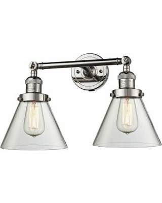"""Large Cone 11"""" High Nickel 2-Light Adjustable Wall Sconce"""