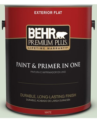 BEHR PREMIUM PLUS 1 gal. #440E-2 Herbal Mist Flat Exterior Paint and Primer in One