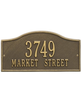 Personalized Whitehall Products Rolling Hills Standard Wall Address Plaque in Antique Brass
