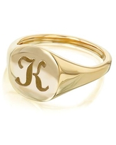 Annello by Kobelli 14k Yellow Gold Personalized Signet Initials Cushion Ring - Script