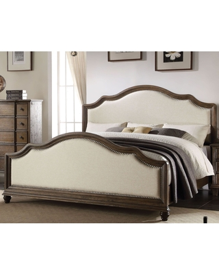 Baudouin Weathered Oak Cal. King Upholstered Panel Bed