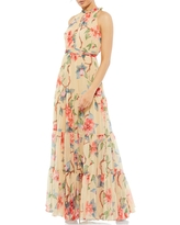 Mac Duggal High Neck Pleated Floral A-Line Gown, Size 2 in Nude Multi at Nordstrom