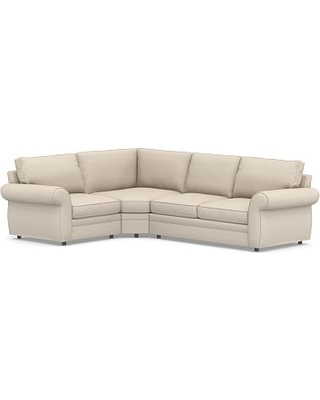 Pearce Roll Arm Upholstered Right 3-Piece Bumper Wedge Sectional, Down Blend Wrapped Cushions, Textured Twill Khaki