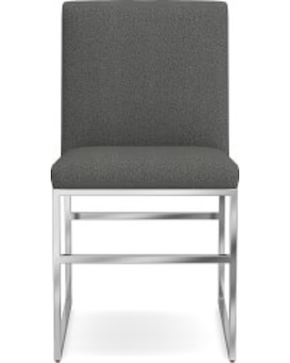 Lancaster Dining Side Chair, Polished Nickel, Perennials Performance Basketweave, Charcoal