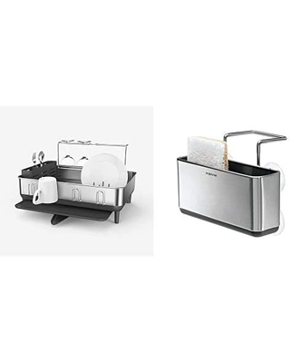 Don T Miss Deals On Simplehuman Kitchen Dish Drying Rack And Slim Sink Caddy Sponge Holder Bundle Stainless Steel