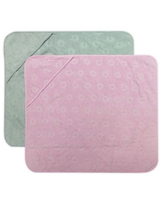 Neat Solutions® 2-Pack Elephant Hooded Towels in Pink/Grey
