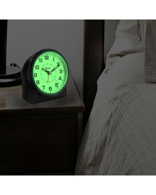 Equity by La Crosse Large 4.72 in. Black Analog Alarm Table Clock with Night Vision Technology