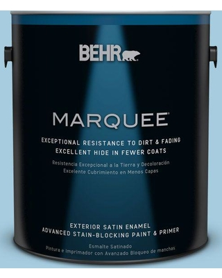 BEHR MARQUEE 1 gal. #M490-2 Carefree Sky Satin Enamel Exterior Paint and Primer in One