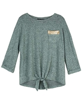 Amy Byer Girls' Tie Front Pocket Tee-Shirt with Sequin, Harvest Olive, S