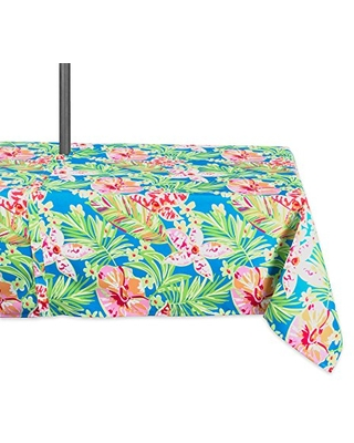 DII Summer Floral Outdoor Tablecloth With Zipper, 60x84 w