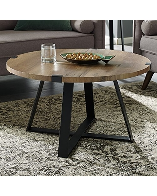 Walker Edison Furniture Rustic Farmhouse Round Metal Coffee Accent Table Living Room, 30 Inch, Brown Reclaimed Barnwood, Black