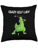 Cool Dino Golf Player Golfing Club Athlete Clothes Funny Gift for Women Mom Golf Field Game Golfer Sports Throw Pillow, 18x18, Multicolor