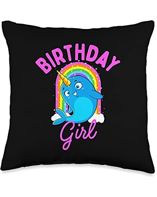 Unicorn Squad Goals Gift Store Narwhal Birthday Gift Women Girls Throw Pillow, 16x16, Multicolor