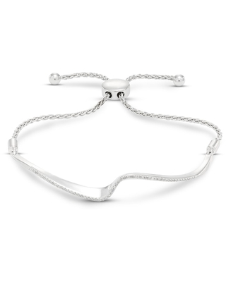 Jared The Galleria Of Jewelry Diamond Bolo Bracelet 1/6 ct tw Round Sterling Silver