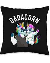 Unicorn Squad Goals Gift Store Dadacorn Unicorn Dad Family Birthday Fathers Day Daughter Throw Pillow, 16x16, Multicolor