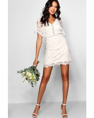 Womens Boutique All Over Lace Bodycon Dress - White - 8