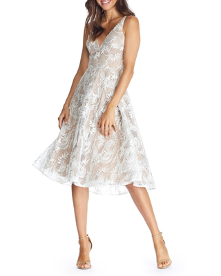 Women's Dress The Population Elisa Lace Fit & Flare Dress, Size Small - White