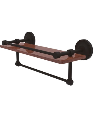 Allied Brass Prestige Regal Collection 16 in. IPE Ironwood Shelf with Gallery Rail and Towel Bar in Oil Rubbed Bronze