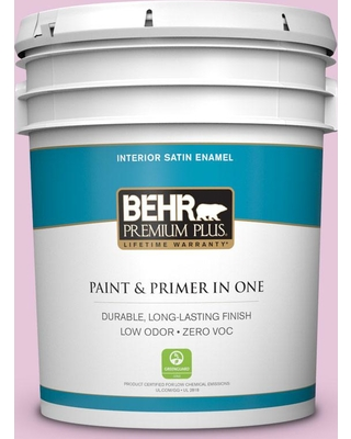 BEHR PREMIUM PLUS 5 gal. #M120-2 Kiss Good Night Satin Enamel Low Odor Interior Paint and Primer in One