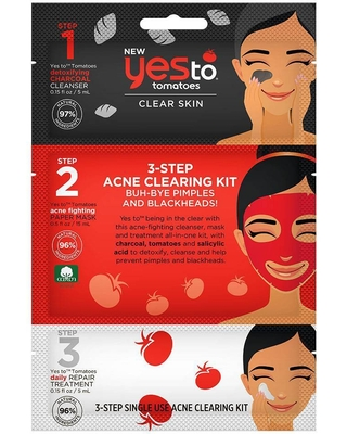 Yes To Tomatoes Detoxifying Charcoal 3-Step Acne Clearing Kit - 1.17 fl oz