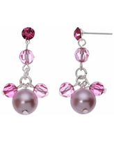 Crystal Avenue Silver-Plated Crystal and Simulated Pearl Drop Earrings - Made with Swarovski Crystals, Women's, Red