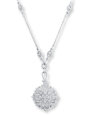Filigree Necklace 1/10 ct tw Diamonds Sterling Silver