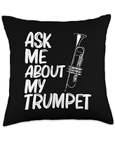 Funny Cornet Lover Musican Themed Designs Gift for Men Women Brass Band Trumpet Players Throw Pillow, 18x18, Multicolor
