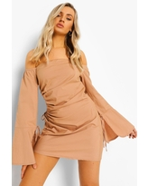 Womens Cut Out Ruched Off The Shoulder Mini Dress - Beige - 6