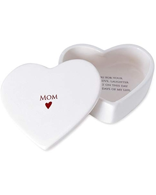 Susabella, Mother of the Bride or Mother of the Groom Gift, Heart Shaped Jewelry Keepsake Box, Mother's Day or Wedding Gift for Mom, Ceramic Box with Lid