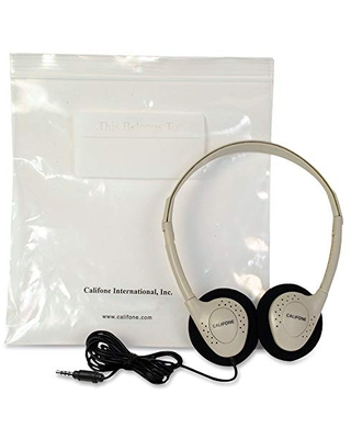 Califone CA-2 Individual Stereo Headphones with Resealable Storage Bag, Adjustable, Beige
