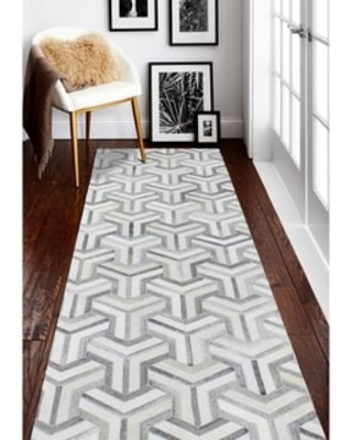 """Cameron Contemporary Hand Stitched Area Rug (Grey 2'6"""" x 8' Runner/Surplus)"""