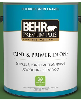 BEHR Premium Plus 1 gal. #410D-7 Mountain Forest Satin Enamel Low Odor Interior Paint and Primer in One