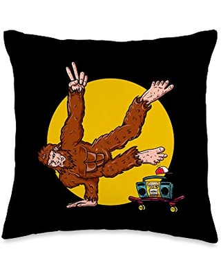 Breakdancing & Hip Hop Apparel Funny Bigfoot Gifts for Men Women and Breakdance Clothes Throw Pillow, 16x16, Multicolor