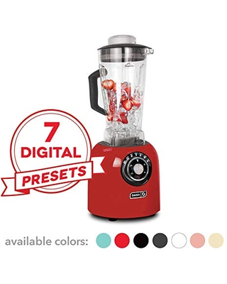 Dash Chef Series 64 oz Blender with with Stainless Steel Blades + Digital Display for Coffee Drinks, Frozen Cocktails, Smoothies, Soup, Fondue & More, 1400-Watt - Red