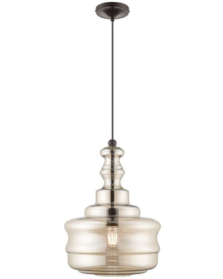Livex Lighting 1-Light English Bronze Mini Pendant with Champagne Glass Shade