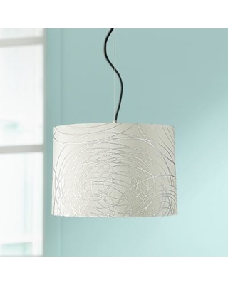 """Abstract Silver Circles Shade 16"""" Wide Pendant Light"""